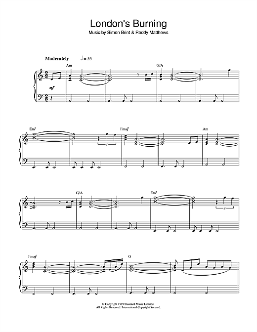 Simon Brint Theme from London's Burning sheet music notes and chords