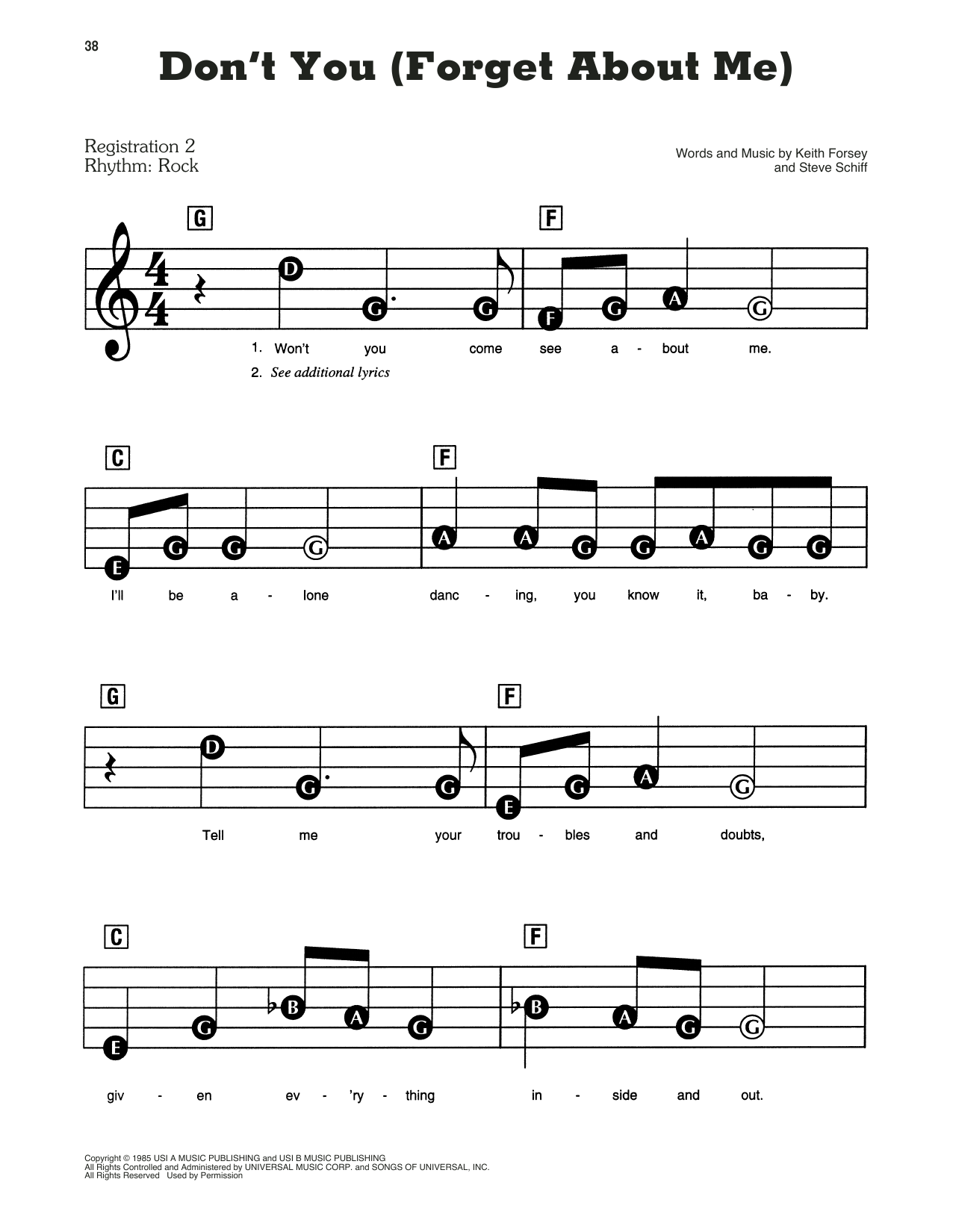 Simple Minds Don't You (Forget About Me) sheet music preview music notes and score for E-Z Play Today including 6 page(s)