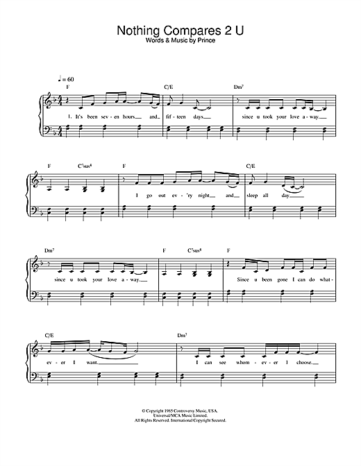 Sinead O'Connor Nothing Compares 2 U sheet music notes and chords
