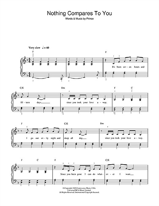 Sinead O'Connor Nothing Compares 2 U sheet music preview music notes and score for Piano, Vocal & Guitar including 5 page(s)