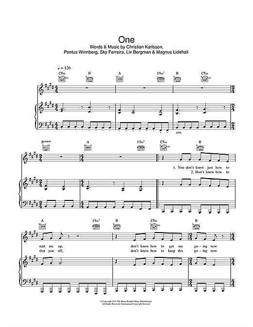 Sky Ferreira One sheet music notes and chords