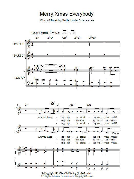 Slade Merry Xmas Everybody sheet music preview music notes and score for 2-Part Choir including 7 page(s)