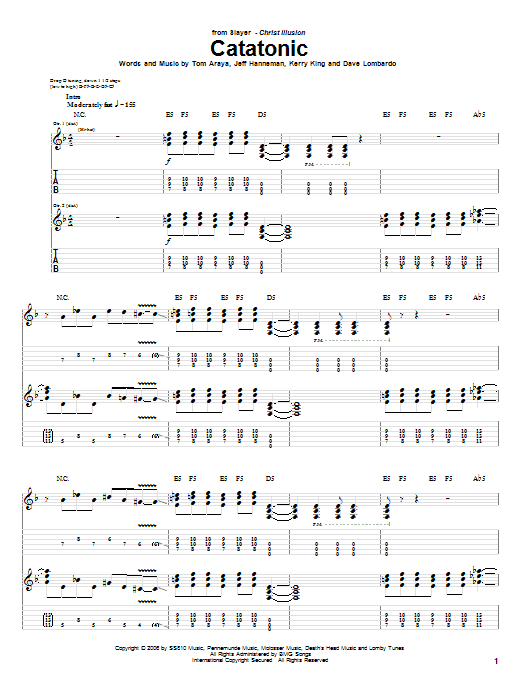 Slayer Catatonic sheet music preview music notes and score for Guitar Tab including 11 page(s)