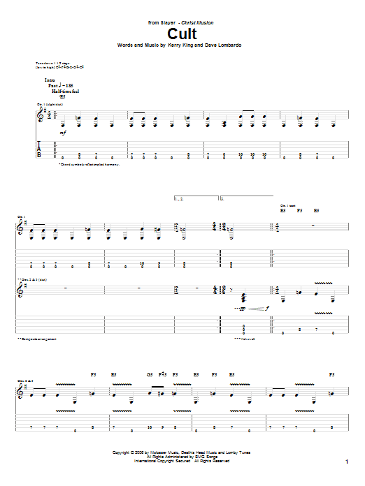 Slayer Cult sheet music preview music notes and score for Guitar Tab including 13 page(s)