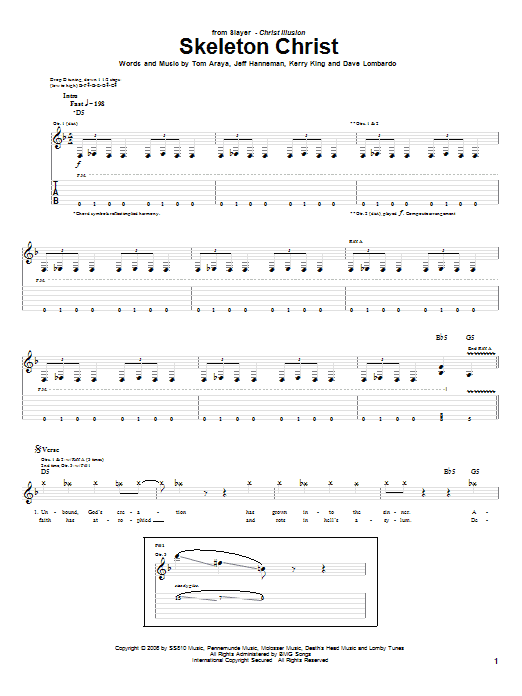 Slayer Skeleton Christ sheet music preview music notes and score for Guitar Tab including 14 page(s)