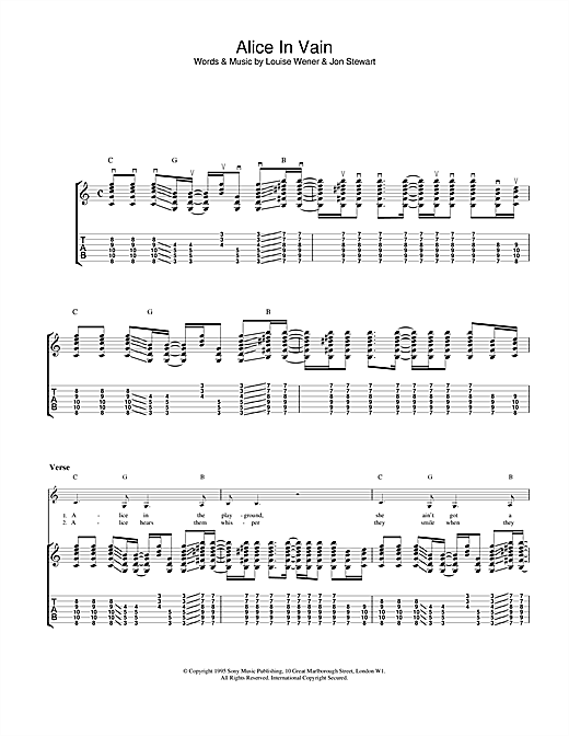 Sleeper Alice In Vain sheet music notes and chords