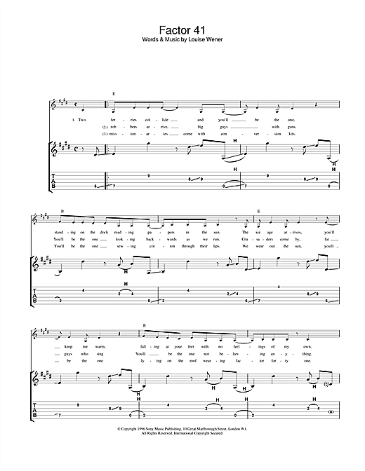 Sleeper Factor 41 sheet music notes and chords