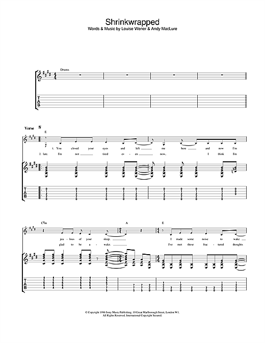 Sleeper Shrinkwrapped sheet music notes and chords