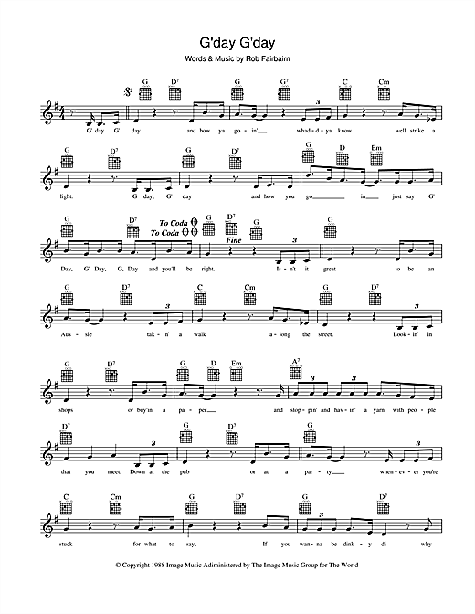 Slim Dusty G'day, G'day sheet music preview music notes and score for Melody Line, Lyrics & Chords including 3 page(s)