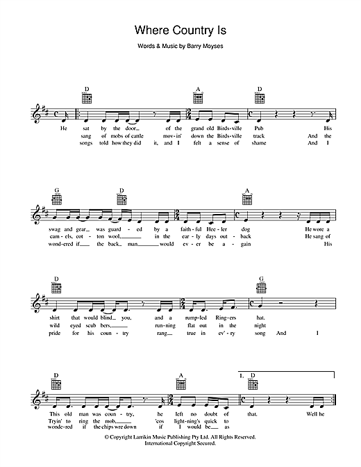Slim Dusty Where Country Is sheet music preview music notes and score for Melody Line, Lyrics & Chords including 2 page(s)