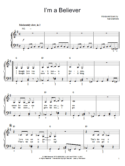 Smash Mouth I'm A Believer sheet music preview music notes and score for Easy Piano including 3 page(s)