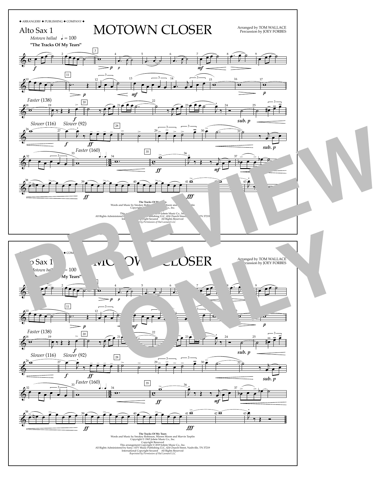 Smokey Robinson Motown Closer (arr. Tom Wallace) - Alto Sax 1 sheet music preview music notes and score for Marching Band including 1 page(s)