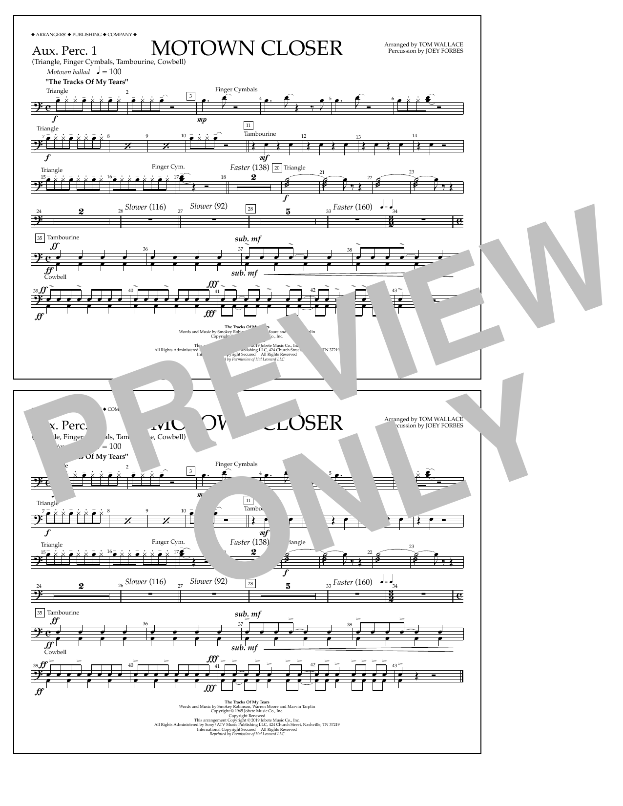 Smokey Robinson Motown Closer (arr. Tom Wallace) - Aux. Perc. 1 sheet music preview music notes and score for Marching Band including 1 page(s)