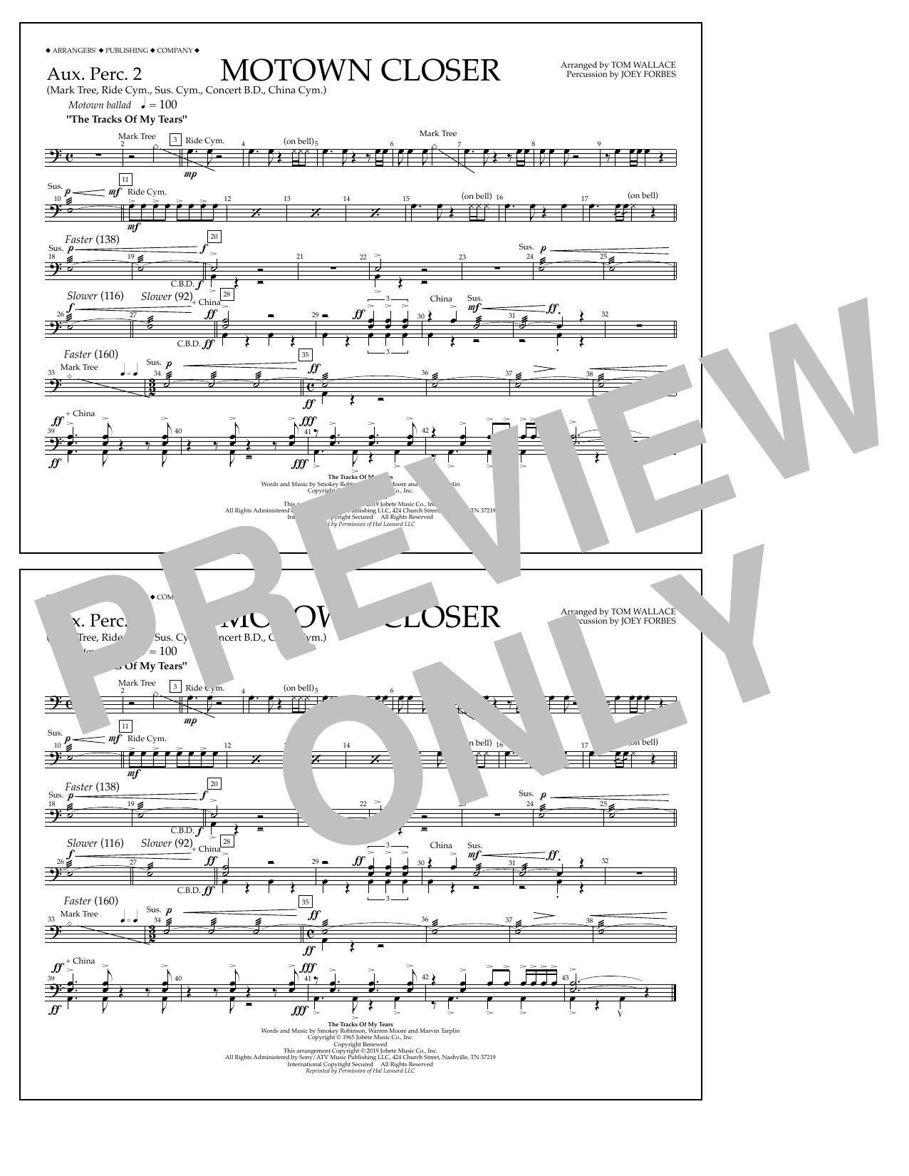 Smokey Robinson Motown Closer (arr. Tom Wallace) - Aux. Perc. 2 sheet music preview music notes and score for Marching Band including 1 page(s)