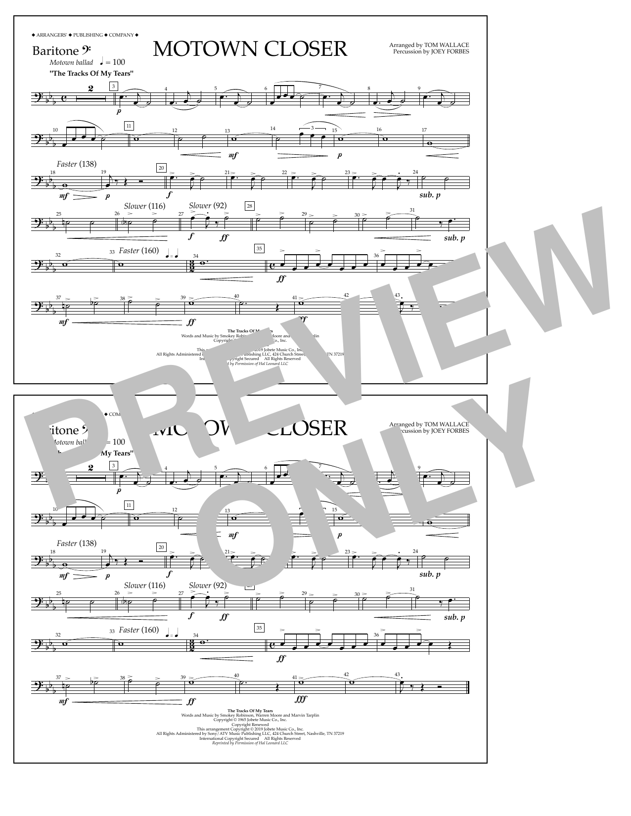 Smokey Robinson Motown Closer (arr. Tom Wallace) - Baritone B.C. sheet music preview music notes and score for Marching Band including 1 page(s)