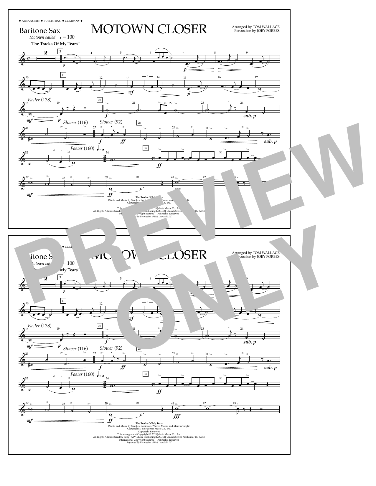 Smokey Robinson Motown Closer (arr. Tom Wallace) - Baritone Sax sheet music preview music notes and score for Marching Band including 1 page(s)