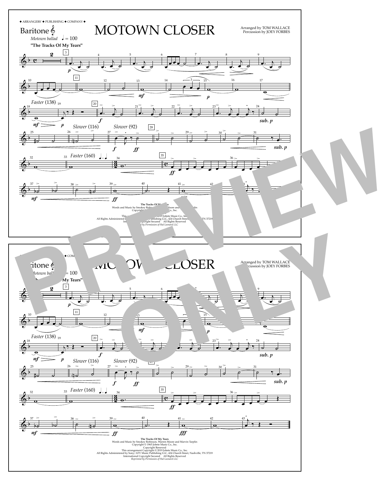 Smokey Robinson Motown Closer (arr. Tom Wallace) - Baritone T.C. sheet music preview music notes and score for Marching Band including 1 page(s)