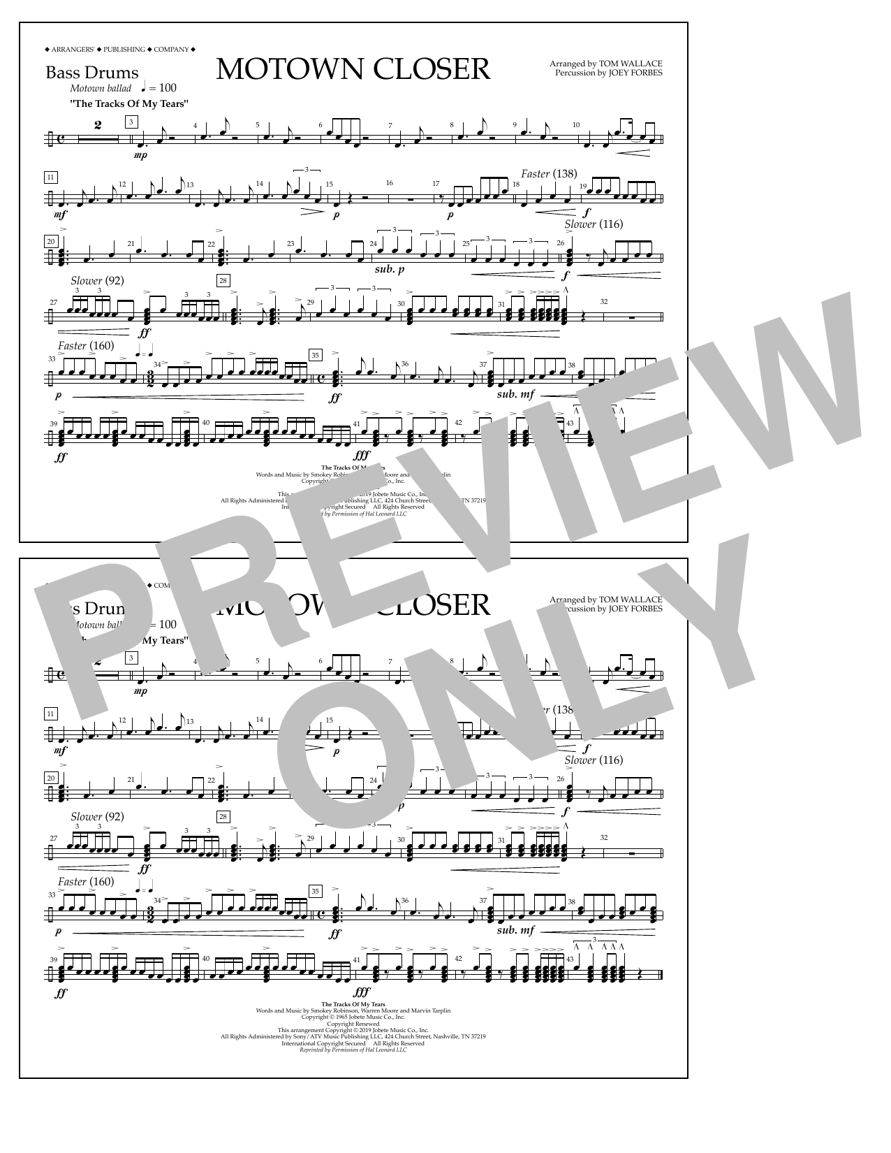 Smokey Robinson Motown Closer (arr. Tom Wallace) - Bass Drums sheet music preview music notes and score for Marching Band including 1 page(s)