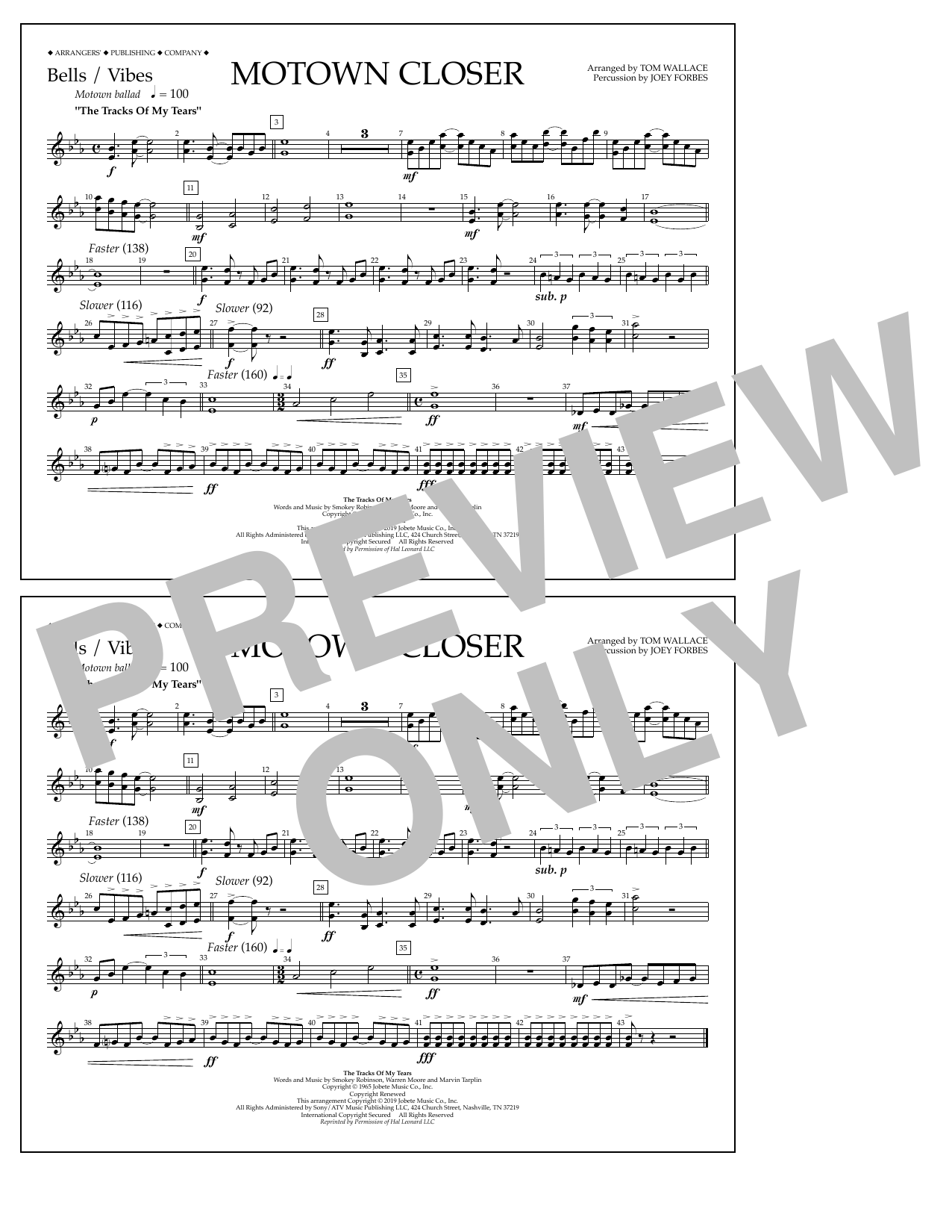 Smokey Robinson Motown Closer (arr. Tom Wallace) - Bells/Vibes sheet music preview music notes and score for Marching Band including 1 page(s)