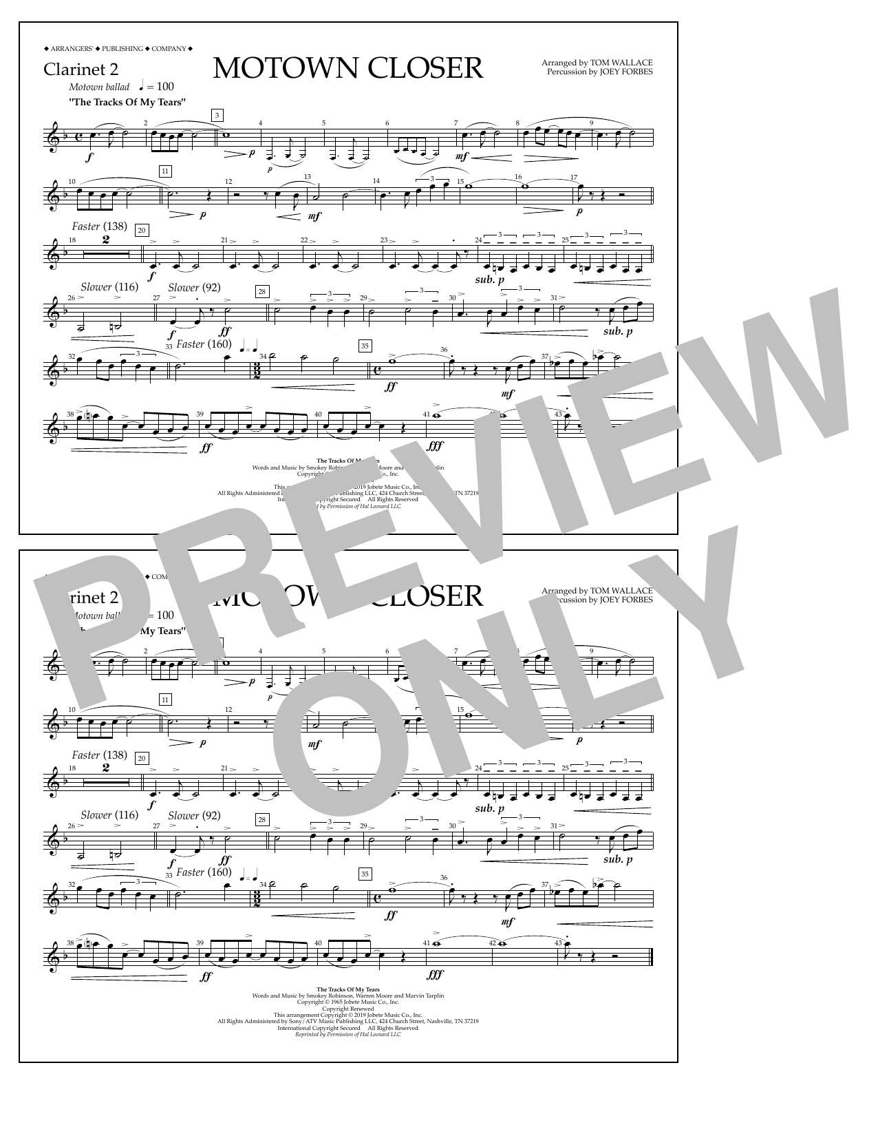 Smokey Robinson Motown Closer (arr. Tom Wallace) - Clarinet 2 sheet music preview music notes and score for Marching Band including 1 page(s)