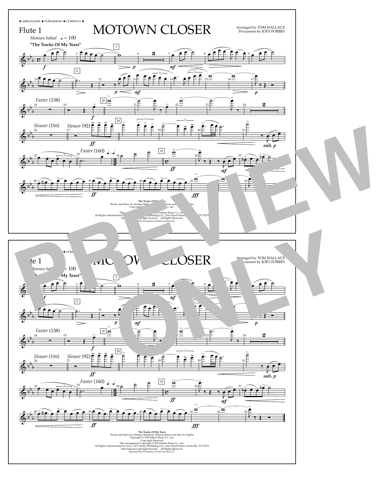 Smokey Robinson Motown Closer (arr. Tom Wallace) - Flute 1 sheet music preview music notes and score for Marching Band including 1 page(s)