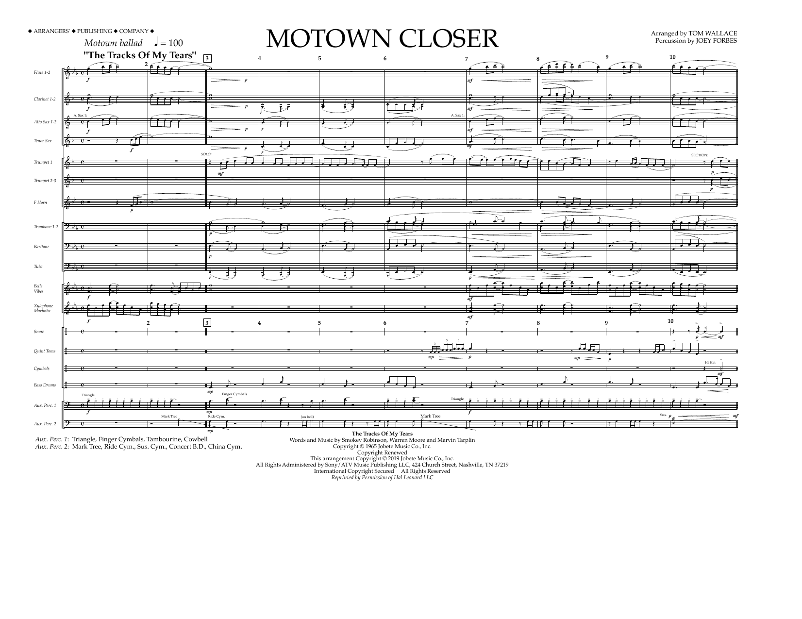 Smokey Robinson Motown Closer (arr. Tom Wallace) - Full Score sheet music preview music notes and score for Marching Band including 4 page(s)