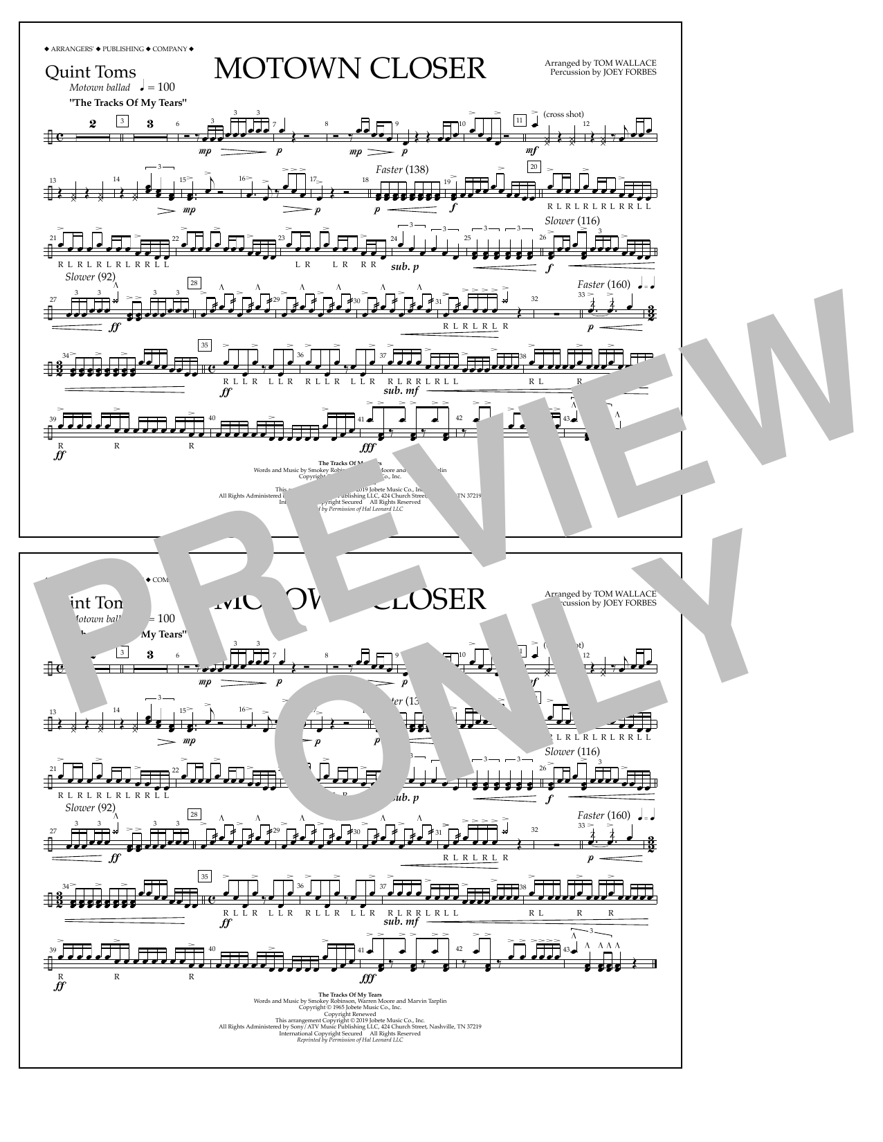 Smokey Robinson Motown Closer (arr. Tom Wallace) - Quint-Toms sheet music preview music notes and score for Marching Band including 1 page(s)