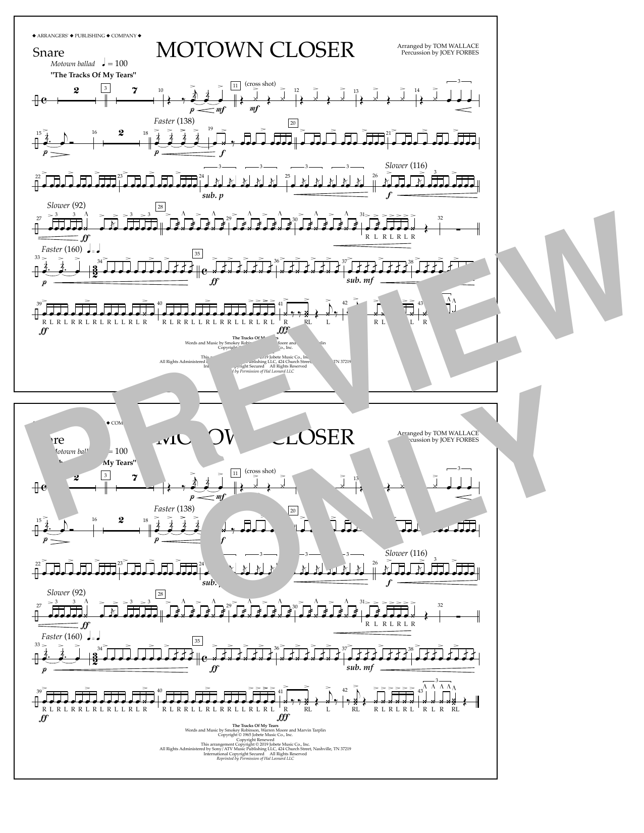 Smokey Robinson Motown Closer (arr. Tom Wallace) - Snare sheet music preview music notes and score for Marching Band including 1 page(s)