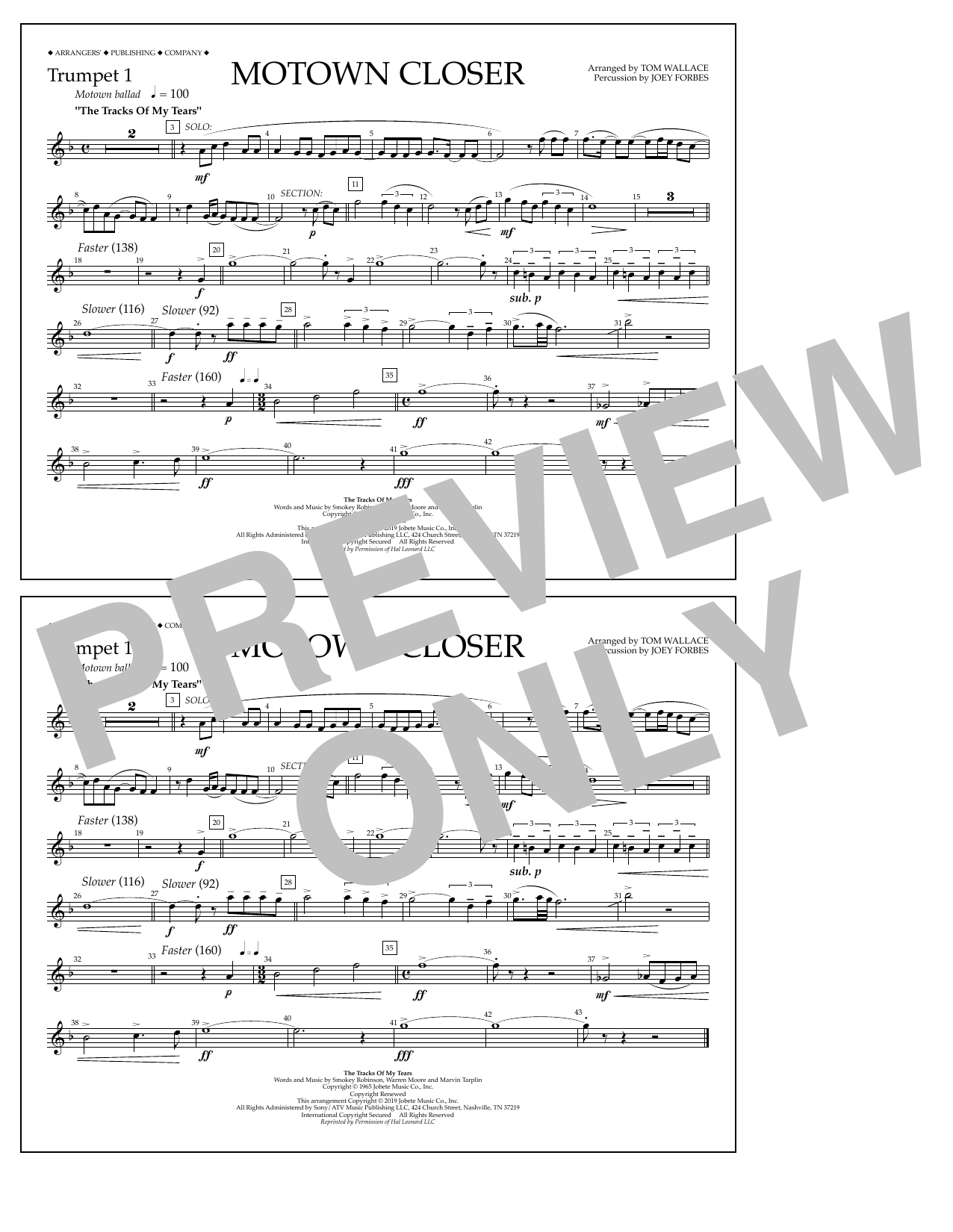 Smokey Robinson Motown Closer (arr. Tom Wallace) - Trumpet 1 sheet music preview music notes and score for Marching Band including 1 page(s)