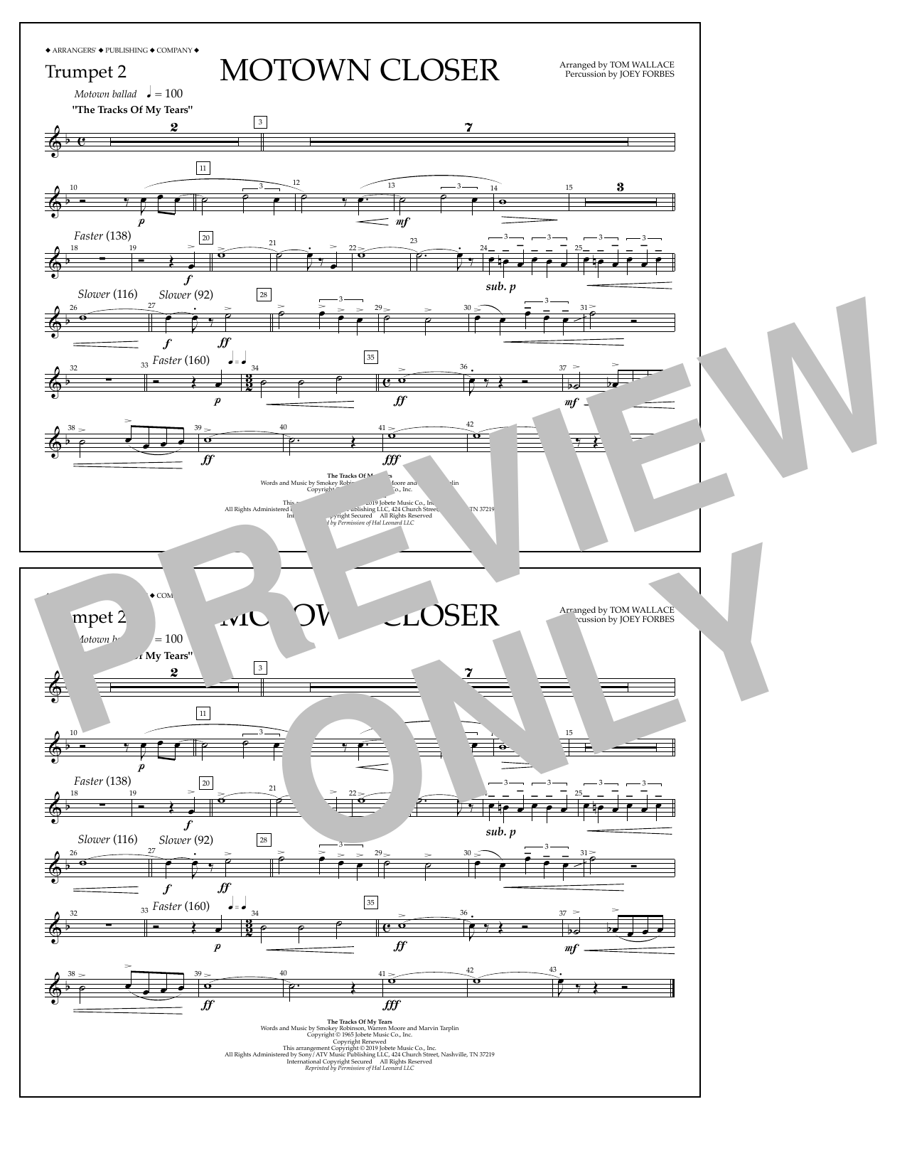 Smokey Robinson Motown Closer (arr. Tom Wallace) - Trumpet 2 sheet music preview music notes and score for Marching Band including 1 page(s)