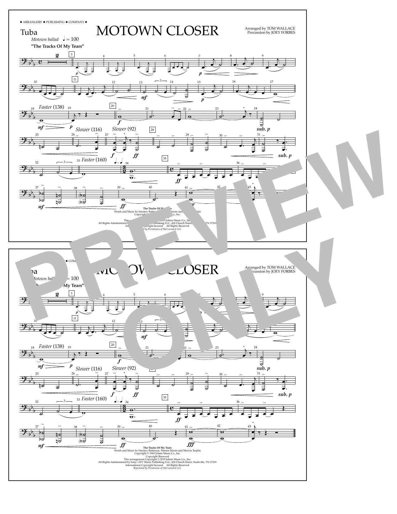 Smokey Robinson Motown Closer (arr. Tom Wallace) - Tuba sheet music preview music notes and score for Marching Band including 1 page(s)