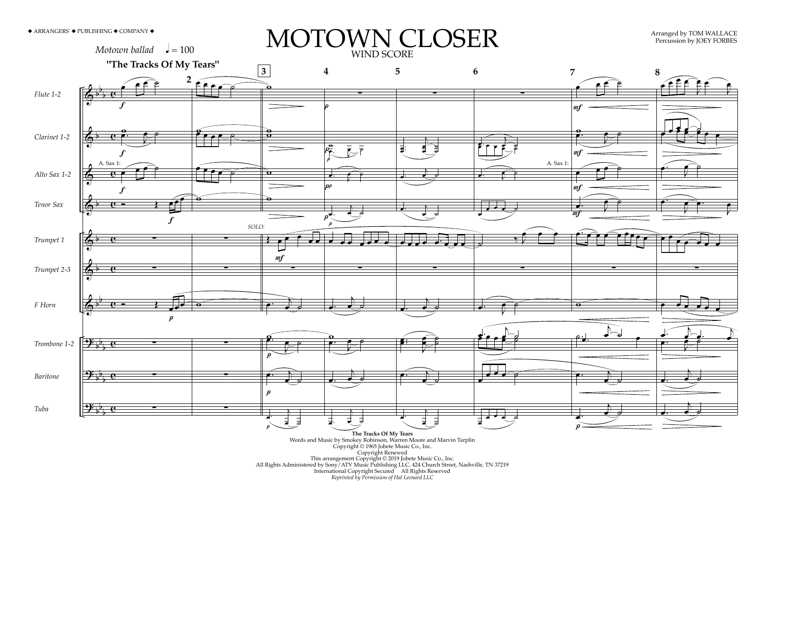 Smokey Robinson Motown Closer (arr. Tom Wallace) - Wind Score sheet music preview music notes and score for Marching Band including 6 page(s)