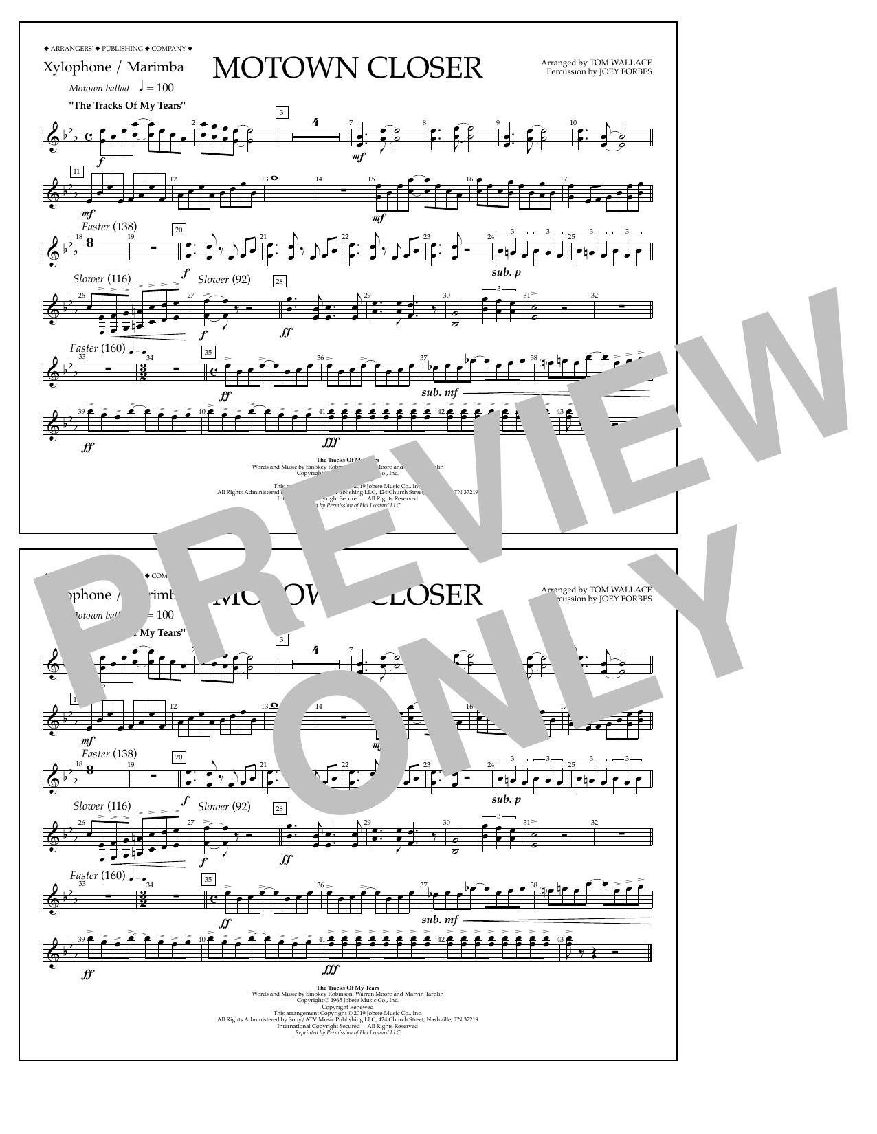 Smokey Robinson Motown Closer (arr. Tom Wallace) - Xylophone/Marimba sheet music preview music notes and score for Marching Band including 1 page(s)