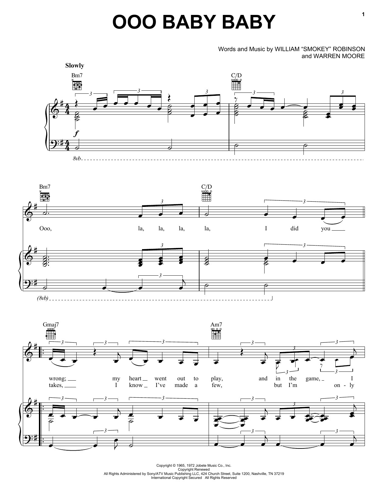 Smokey Robinson & The Miracles Ooo Baby Baby sheet music preview music notes and score for Lyrics & Chords including 2 page(s)