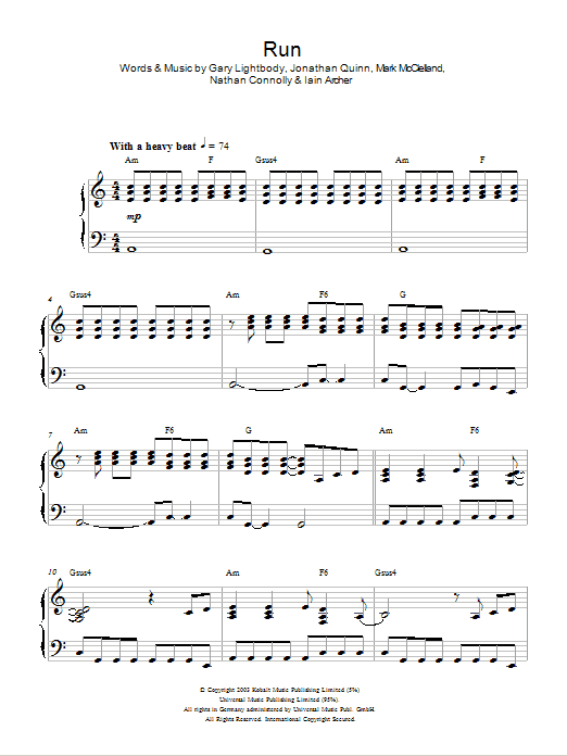 Snow Patrol Run sheet music preview music notes and score for Piano, Vocal & Guitar including 7 page(s)