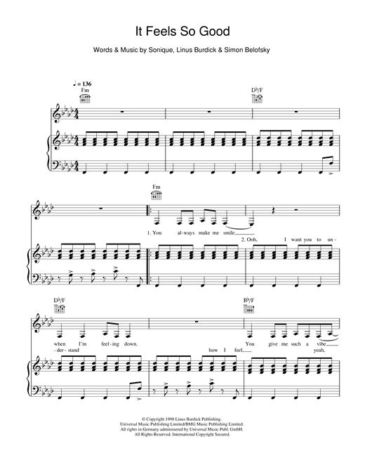 Sonique It Feels So Good sheet music notes and chords