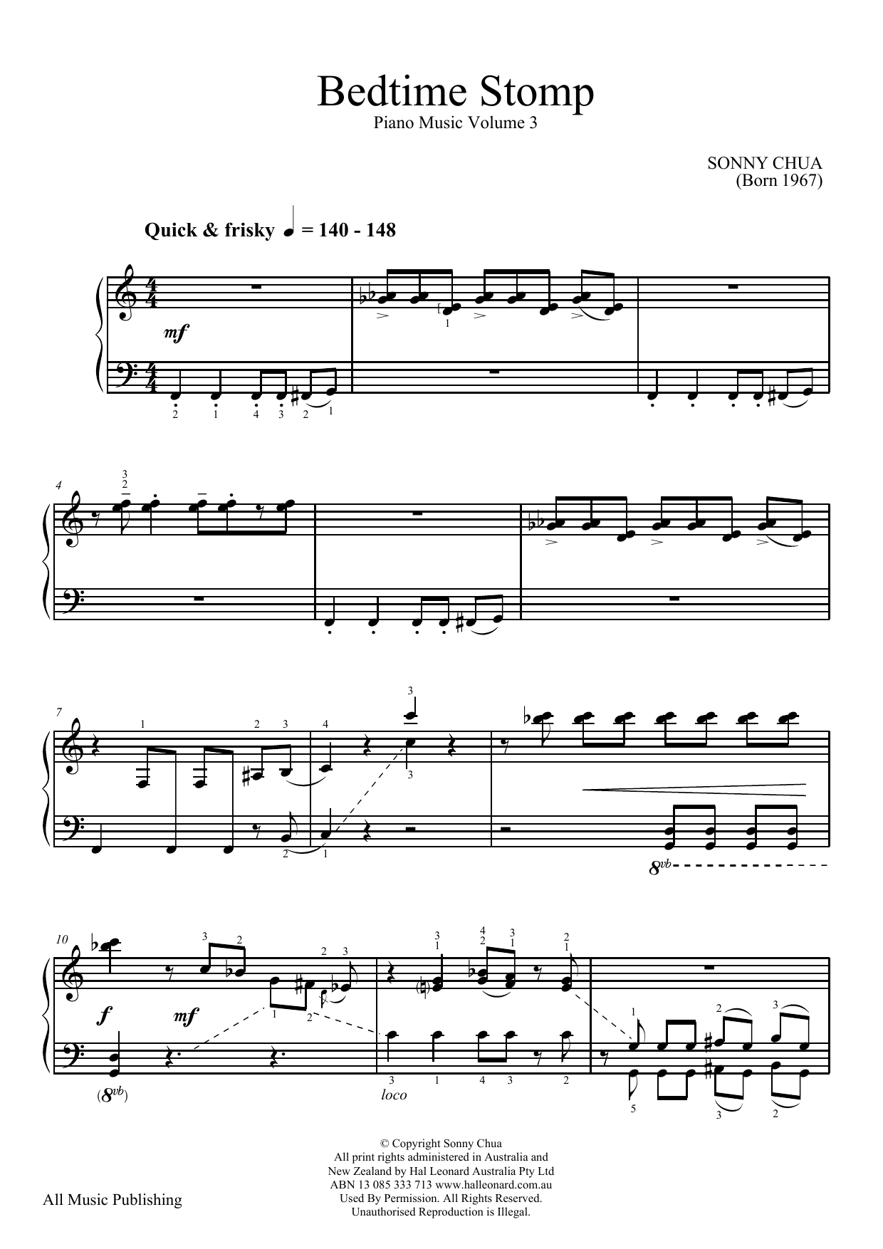 Download Sonny Chua 'Bedtime Stomp (From Piano Music Vol 3)' Digital Sheet Music Notes & Chords and start playing in minutes