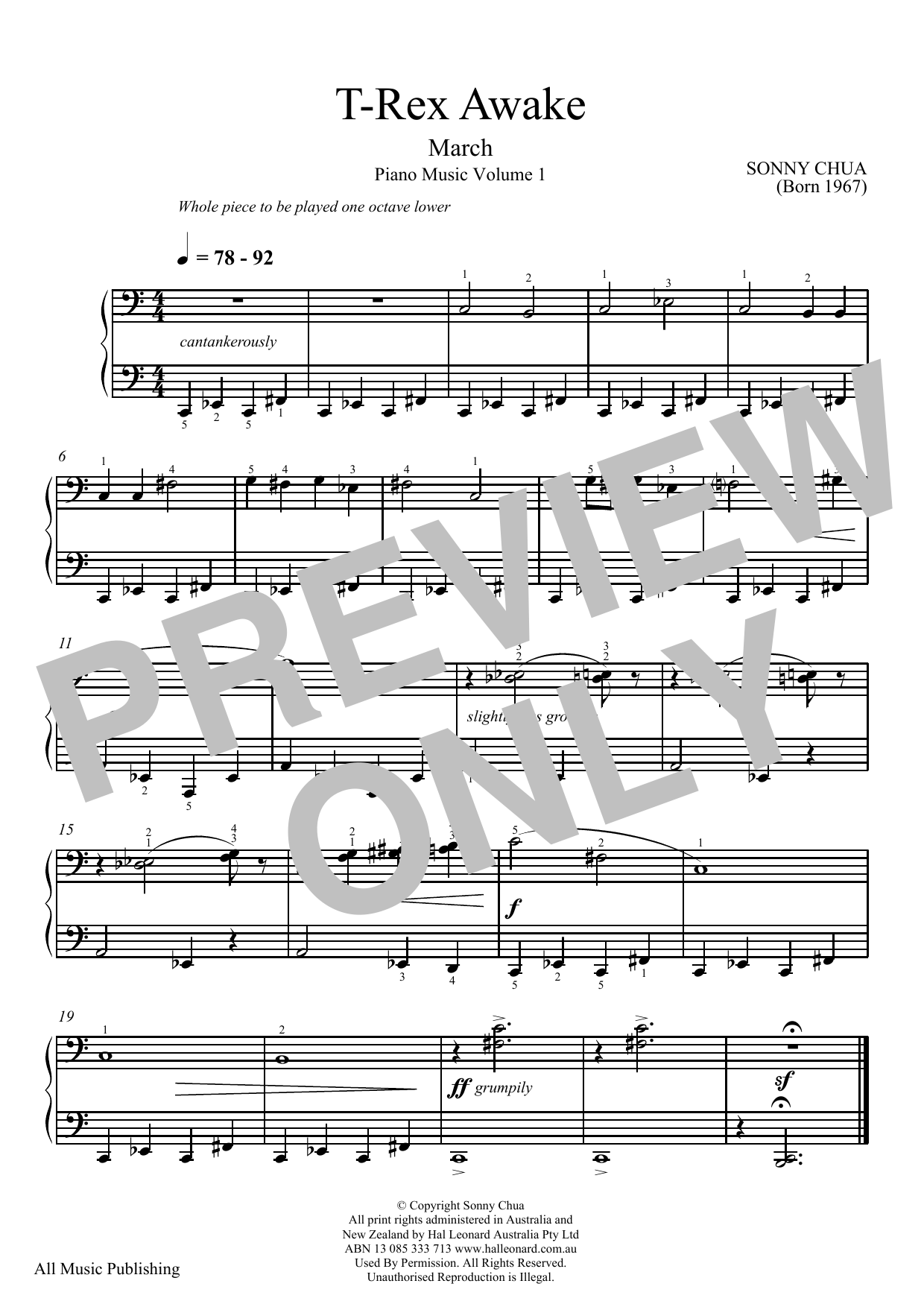 Download Sonny Chua 'T-Rex Awake (From Piano Music Vol 1)' Digital Sheet Music Notes & Chords and start playing in minutes