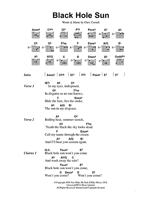 Soundgarden Black Hole Sun sheet music preview music notes and score for Guitar Tab including 7 page(s)