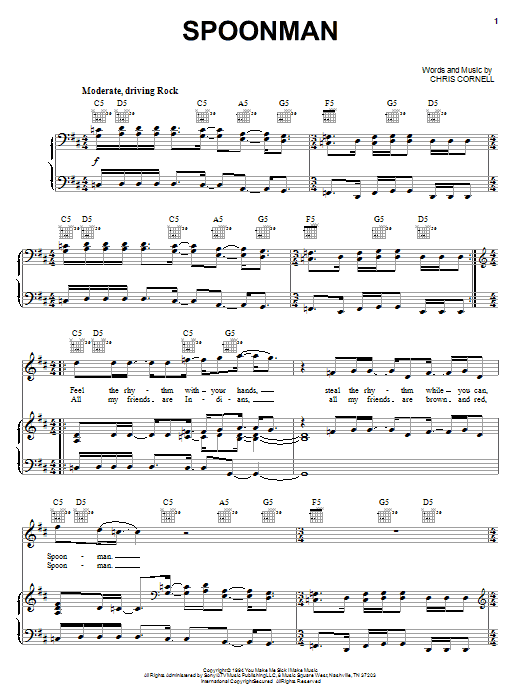 Soundgarden Spoonman sheet music preview music notes and score for Guitar Tab including 8 page(s)