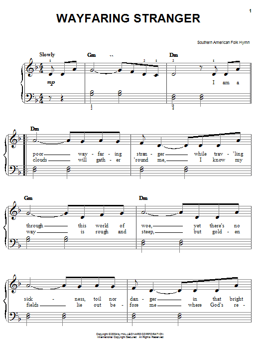 Southern American Folksong Wayfaring Stranger sheet music preview music notes and score for Easy Piano including 2 page(s)