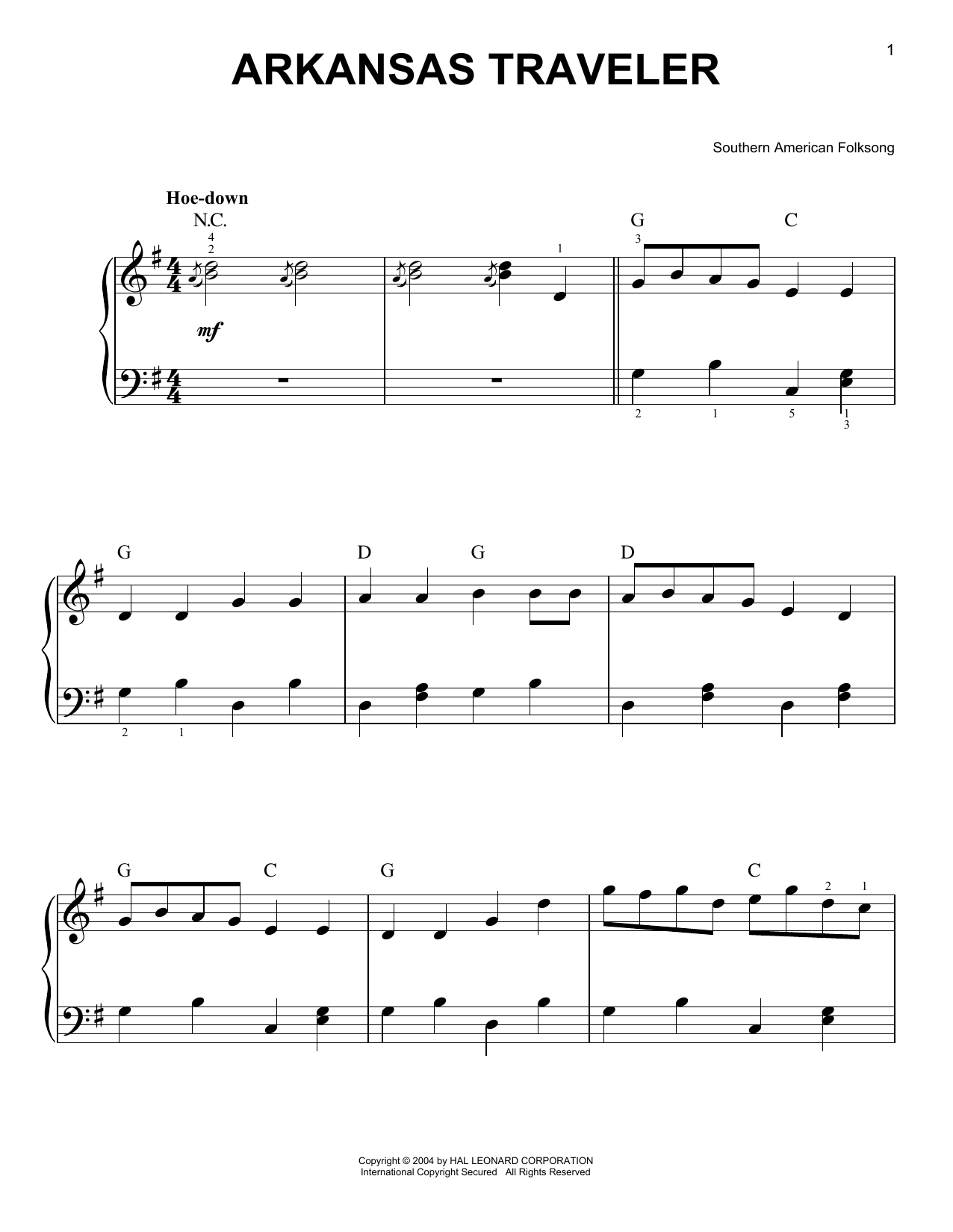 Southern American Folksong Arkansas Traveler sheet music preview music notes and score for Easy Piano including 2 page(s)