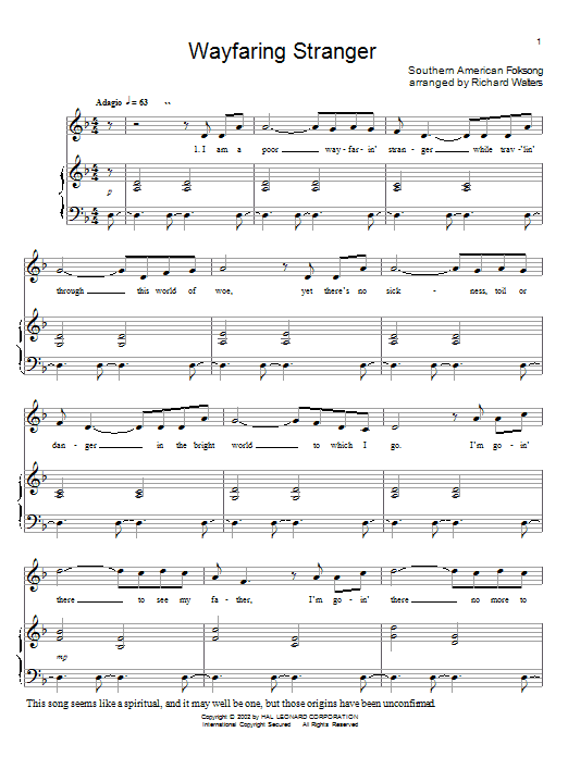 Southern American Folksong Wayfaring Stranger sheet music notes and chords