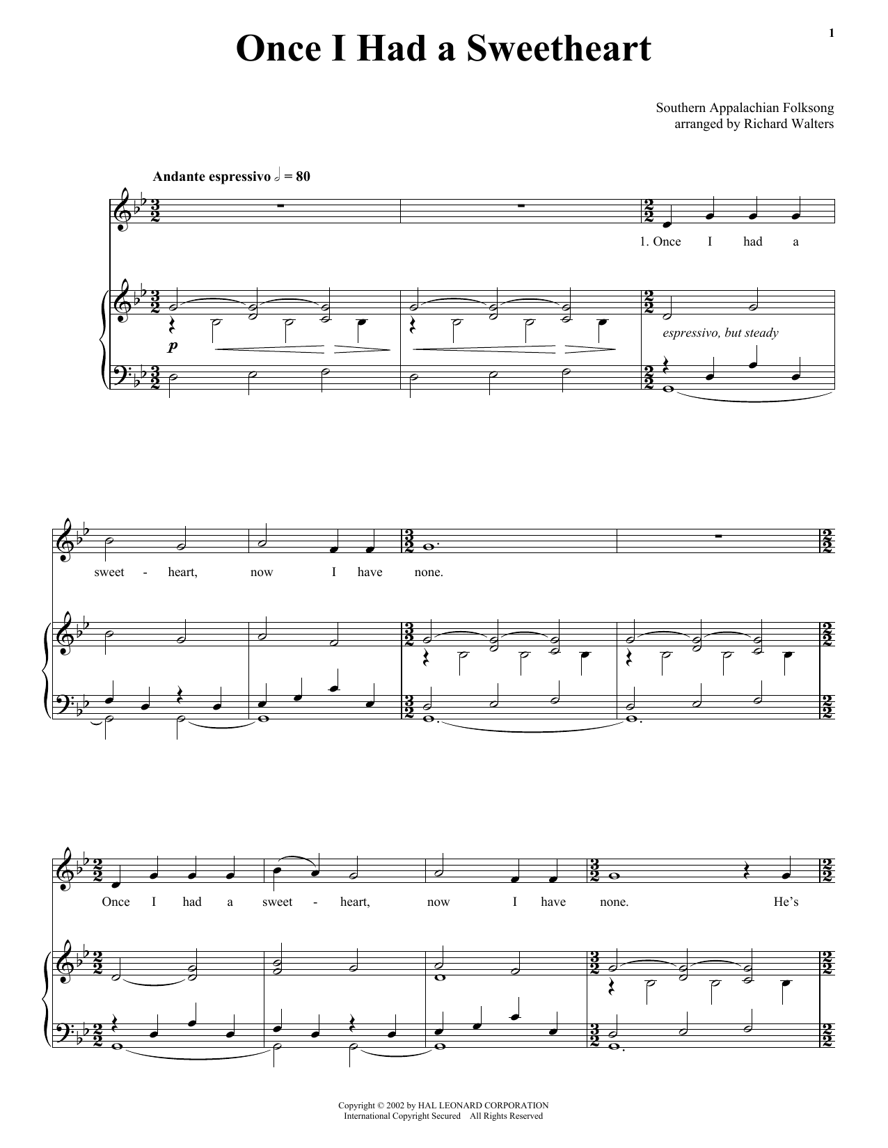 Traditional American Folk Song Once I Had A Sweetheart sheet music notes and chords