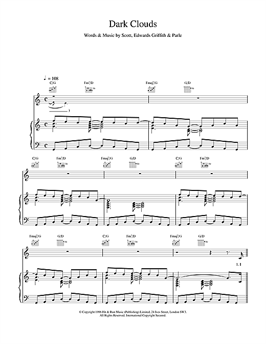 Space Dark Clouds sheet music notes and chords