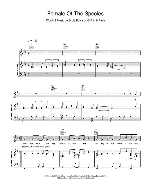 Space Female Of The Species sheet music notes and chords