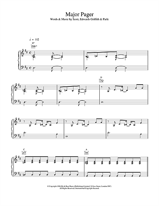 Space Major Pager sheet music notes and chords