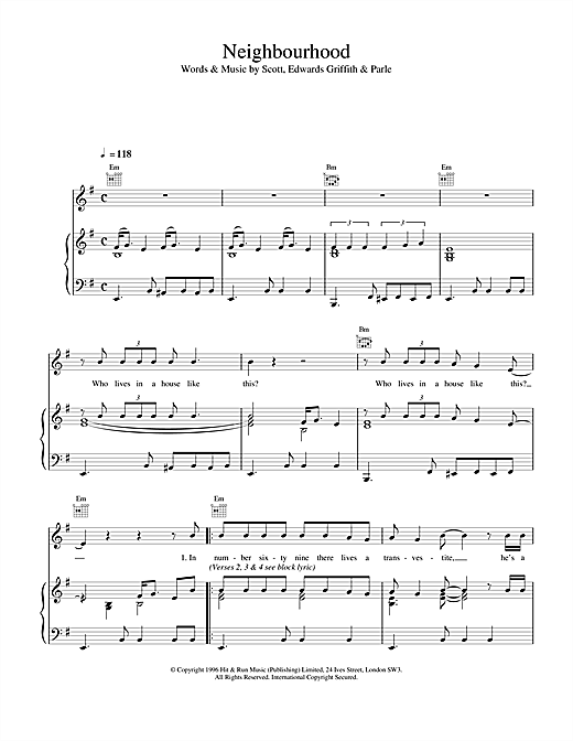 Space Neighbourhood sheet music notes and chords
