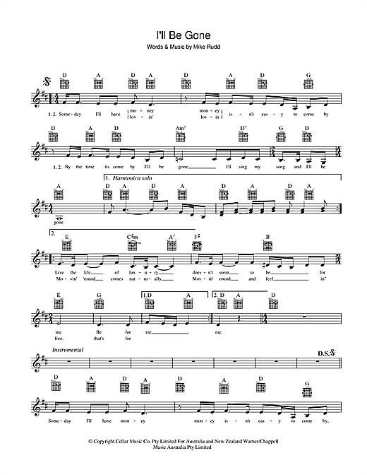 Spectrum I'll Be Gone sheet music preview music notes and score for Melody Line, Lyrics & Chords including 2 page(s)