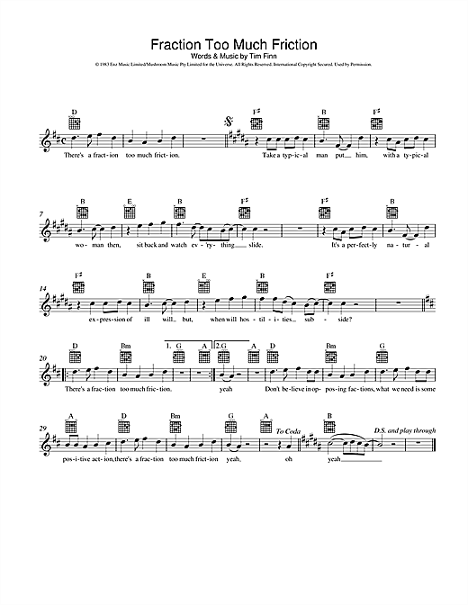 Split Enz Fraction Too Much Friction sheet music preview music notes and score for Melody Line, Lyrics & Chords including 2 page(s)
